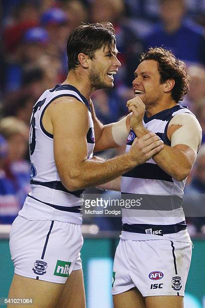 Tom Hawkins of the Cats and Steven Motlop celebrate a goal during the round 13 AFL match between the Western Bulldogs and the Geelong Cats at Etihad...