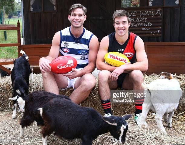 Tom Hawkins of the Cats and Zach Merrett of the Bombers pose during the Powercor Country Festival Launch at Melbourne Cricket Ground on May 14, 2018...
