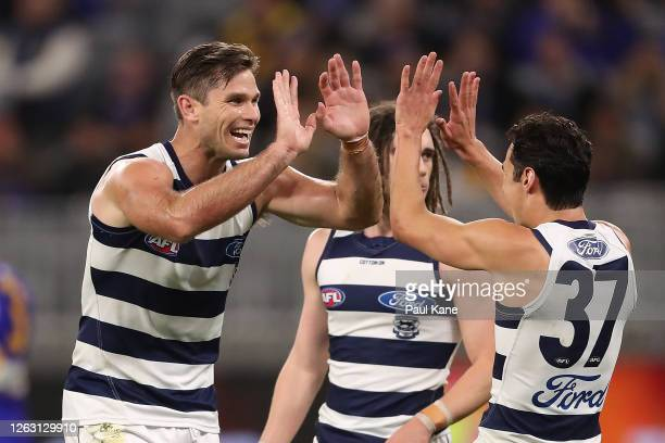 Tom Hawkins of the Cats celebrates a goal during the round nine AFL match between West Coast Eagles and the Geelong Cats at Optus Stadium on August...