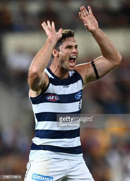 Tom Hawkins of the Cats celebrates after scoring a goal during the AFL 2nd Preliminary Final match between the Brisbane Lions and the Geelong Cats at...