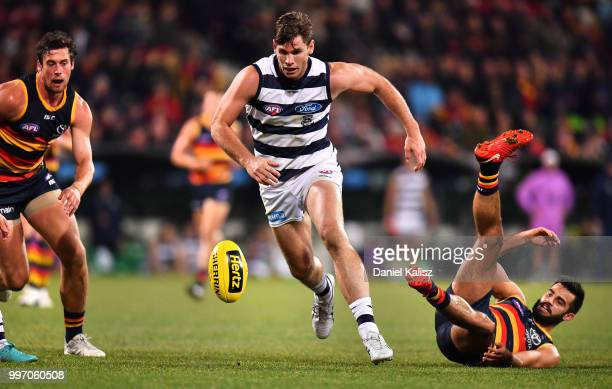 Tom Hawkins of the Cats competes for the ball during the round 17 AFL match between the Adelaide Crows and the Geelong Cats at Adelaide Oval on July...