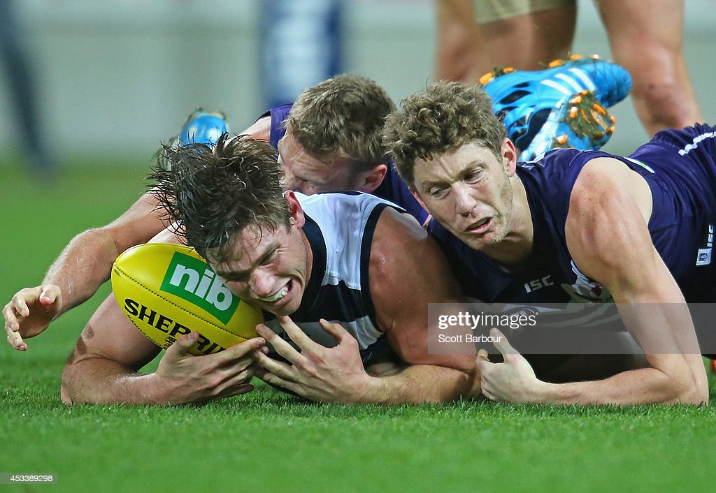 Tom Hawkins of the Cats competes for the ball during the round 20 AFL match between the Geelong Cats and the Fremantle Dockers at Skilled Stadium on August 9, 2014 in Geelong, Australia.