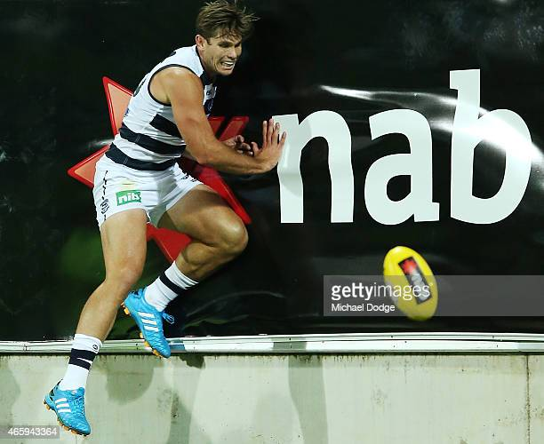 Tom Hawkins of the Cats crashes into the fence during the NAB Challenge AFL match between the Geelong Cats and the Adelaide Crows at Simonds Stadium...