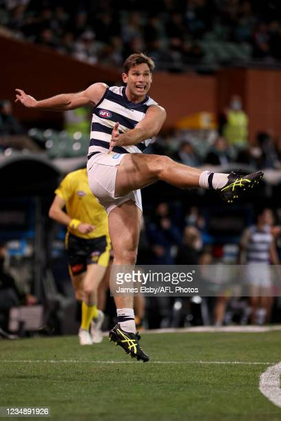 Tom Hawkins of the Cats kicks the ball during the 2021 AFL Round 23 match between the Adelaide Crows and the North Melbourne Kangaroos at Adelaide...
