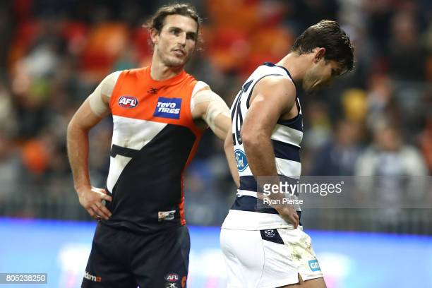 Tom Hawkins of the Cats looks dejected after missing a shot after the sieren during the round 15 AFL match between the Greater Western Sydney Giants...
