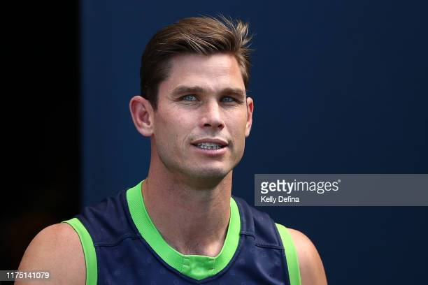 Tom Hawkins of the Cats looks on during a Geelong Cats AFL training session at GMHBA Stadium on September 17, 2019 in Geelong, Australia.