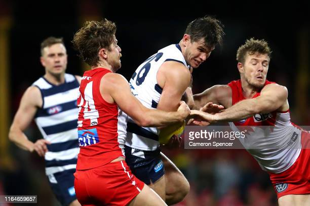 Tom Hawkins of the Cats marks during the round 19 AFL match between the Sydney Swans and the Geelong Cats at Sydney Cricket Ground on July 28, 2019...