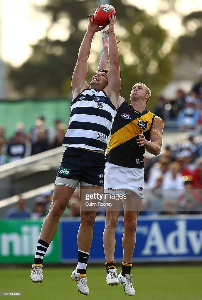 Tom Hawkins of the Cats marks during the round six AFL match between the Geelong Cats and the Richmond Tigers at Skilled Stadium on May 2, 2010 in Melbourne, Australia.