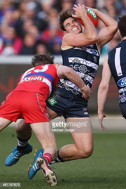 Tom Hawkins of the Cats marks the ball against Jordan Roughead of the Bulldogs during the round 16 AFL match between the Geelong Cats and the Western...