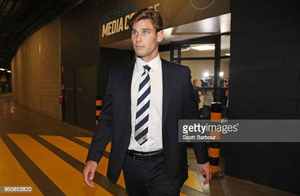 Tom Hawkins of the Geelong Cats leaves the AFL Tribunal at AFL House on May 8, 2018 in Melbourne, Australia. The AFL Tribunal banned Geelong star Tom...