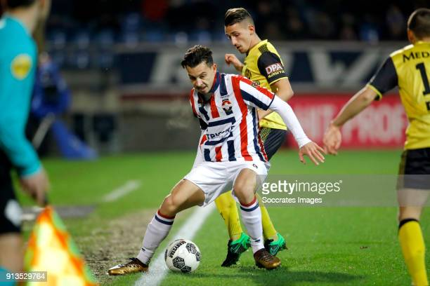 Tom Haye of Willem II Donis Avdijaj of Roda JC during the Dutch KNVB Beker match between Willem II v Roda JC at the Koning Willem II Stadium on...