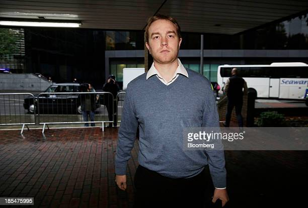 Tom Hayes a former trader at UBS AG arrives at for a court hearing at Southwark Crown Court in London UK on Monday Oct 21 2013 Hayes is charged with...