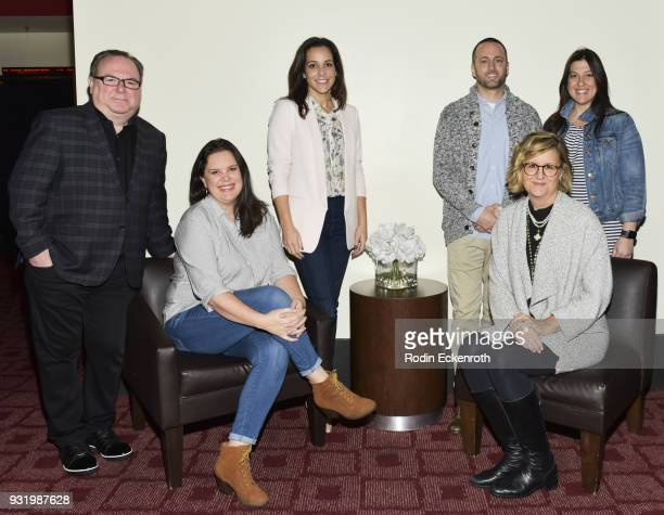 Tom Hayes Jazmin Borad Lori Rovner Brent Emery Gretchen McCourt and Renee Rossi pose for portrait at the Women in Entertainment Workshop Series at...