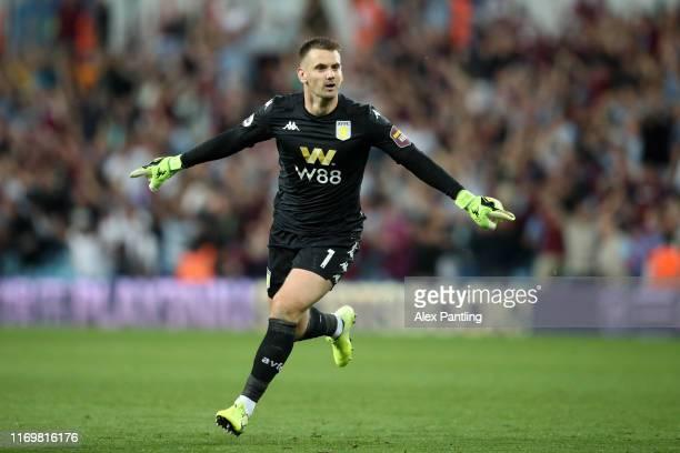 Tom Heaton of Aston Villa celebrates after his team mate Anwar El Ghazi of Aston Villa scored their teams second goal during the Premier League match...