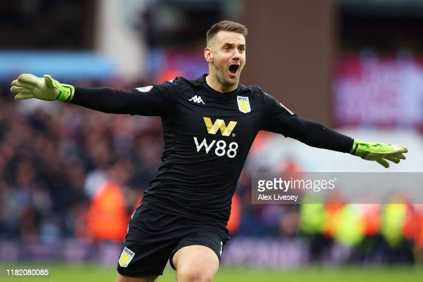 Tom Heaton of Aston Villa celebrates after his team's second goal during the Premier League match between Aston Villa and Brighton Hove Albion at...