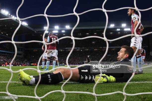 Tom Heaton of Aston Villa reacts after Sadio Mane's goal during the Premier League match between Aston Villa and Liverpool FC at Villa Park on...