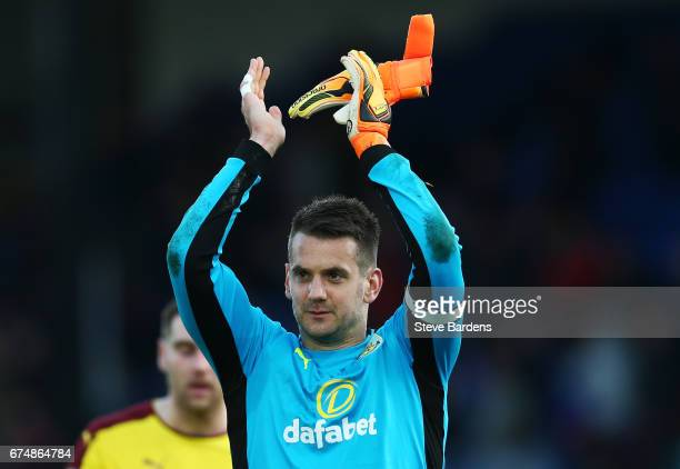 Tom Heaton of Burnley celebrates after the Premier League match between Crystal Palace and Burnley at Selhurst Park on April 29 2017 in London England