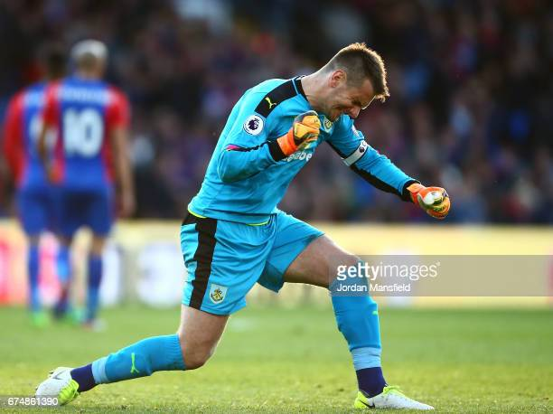 Tom Heaton of Burnley celebrates during the Premier League match between Crystal Palace and Burnley at Selhurst Park on April 29 2017 in London...