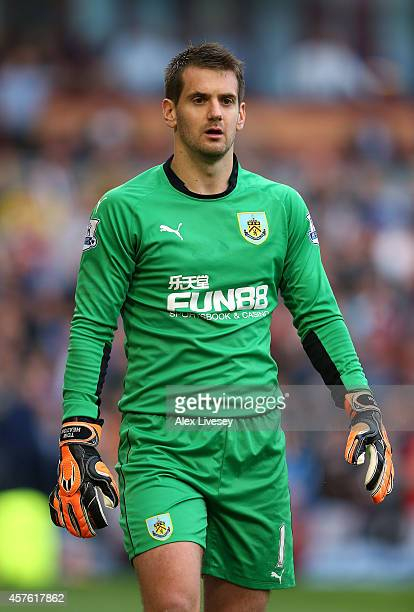 Tom Heaton of Burnley during the Barclays Premier League match between Burnley and West Ham United at Turf Moor on October 18 2014 in Burnley England