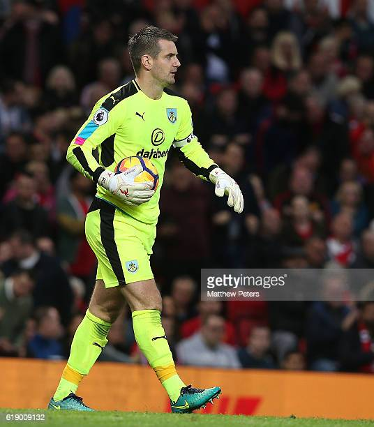 Tom Heaton of Burnley in action during the Premier League match between Manchester United and Burnley at Old Trafford on October 29 2016 in...