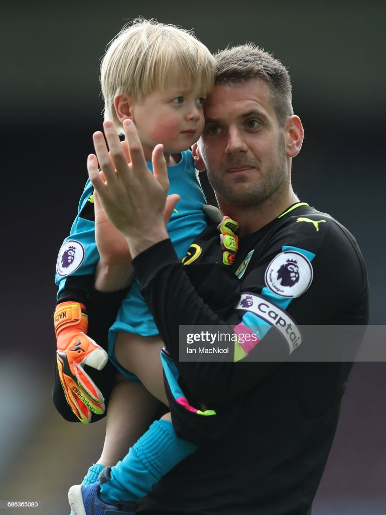 Tom Heaton of Burnley is seen on the pitch at full time during the Premier League match between Burnley and West Ham United at Turf Moor on May 21, 2017 in Burnley, England.