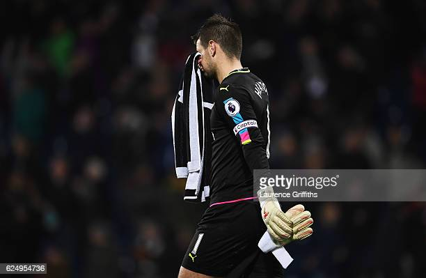 Tom Heaton of Burnley looks dejected in defeat after the Premier League match between West Bromwich Albion and Burnley at The Hawthorns on November...