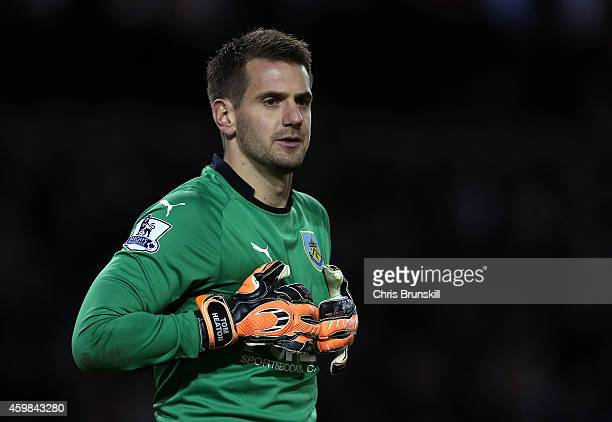 Tom Heaton of Burnley looks on during the Barclays Premier League match between Burnley and Newcastle United at Turf Moor on December 02 2014 in...