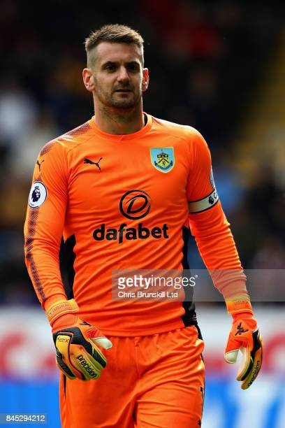 Tom Heaton of Burnley looks on during the Premier League match between Burnley and Crystal Palace at Turf Moor on September 10 2017 in Burnley England