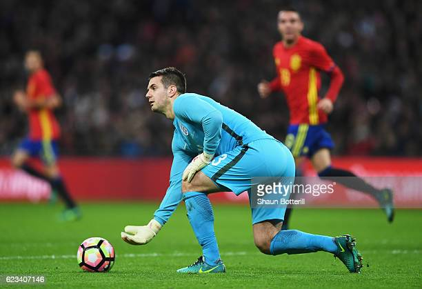 Tom Heaton of England in action during the international friendly match between England and Spain at Wembley Stadium on November 15 2016 in London...