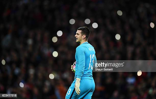 Tom Heaton of England looks on during the international friendly match between England and Spain at Wembley Stadium on November 15 2016 in London...