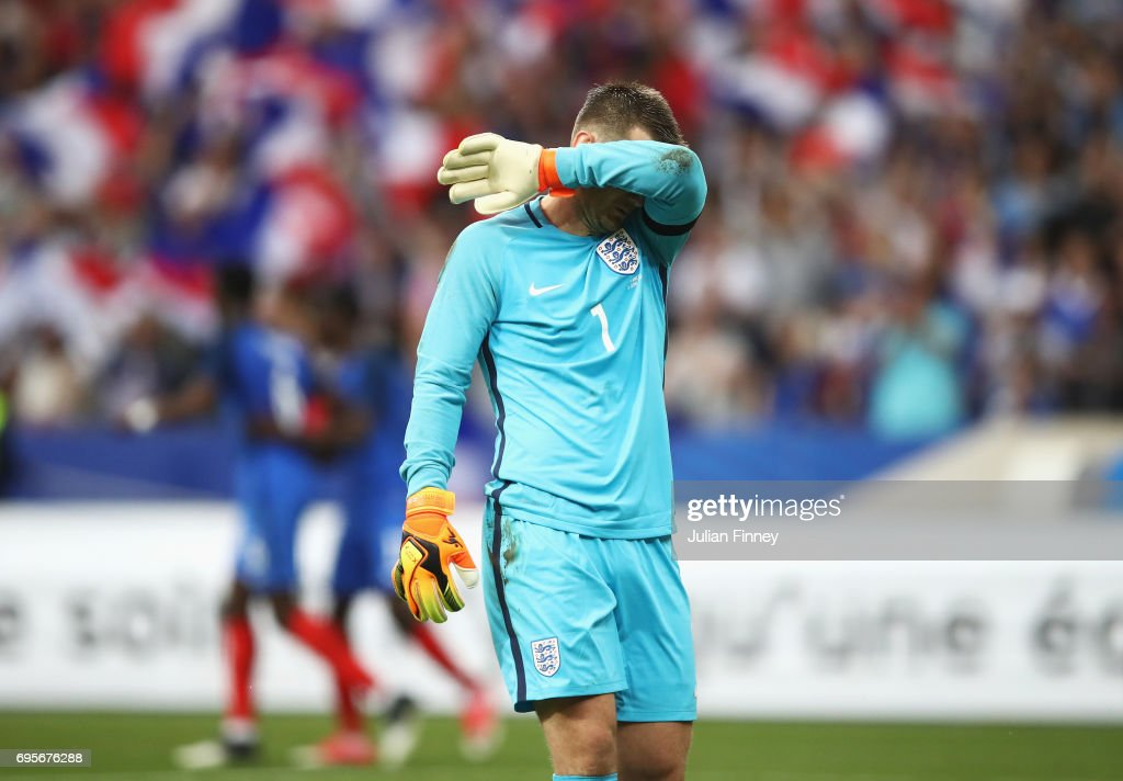 Tom Heaton of England reacts during the International Friendly match between France and England at Stade de France on June 13, 2017 in Paris, France.