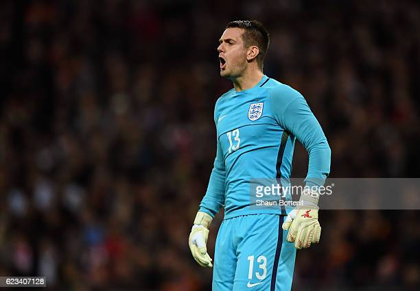 Tom Heaton of England shouts during the international friendly match between England and Spain at Wembley Stadium on November 15 2016 in London...