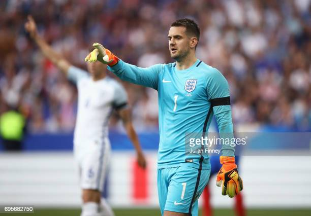 Tom Heaton of England signals during the International Friendly match between France and England at Stade de France on June 13 2017 in Paris France