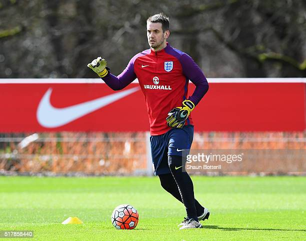 Tom Heaton of England warms up during a training session prior to the International Friendly match against the Netherlands at the Tottenham Hotspur...