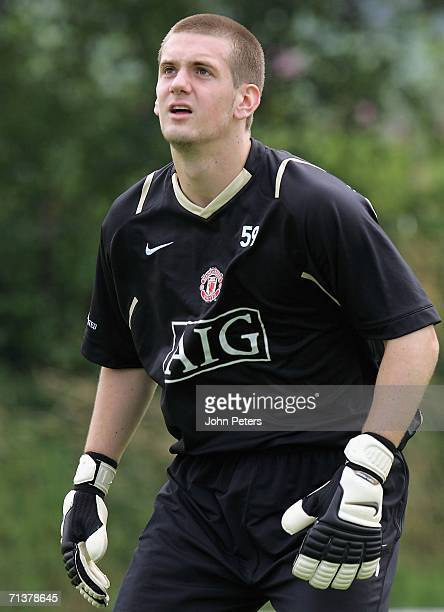 Tom Heaton of Manchester United in action during a first team training session at Carrington Training Ground on July 6 2006 in Manchester England