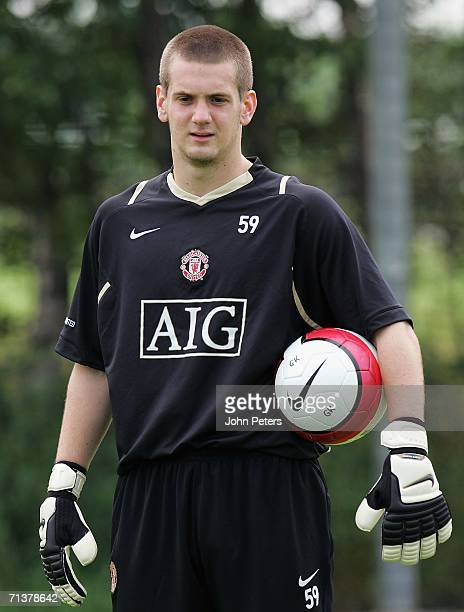 Tom Heaton of Manchester United in action on the ball during a first team training session at Carrington Training Ground on July 6 2006 in Manchester...