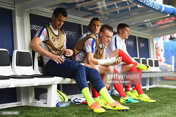 Tom HeatonJamie Vardy of England on the bench prior during the UEFA EURO 2016 Group B match between England and Wales at Stade BollaertDelelis on...