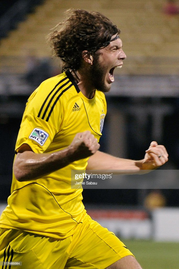 Tom Heinemann #32 of the Columbus Crew celebrates his second half goal against the Colorado Rapids on June 26, 2011 at Crew Stadium in Columbus, Ohio. Columbus defeated Colorado 4-1.