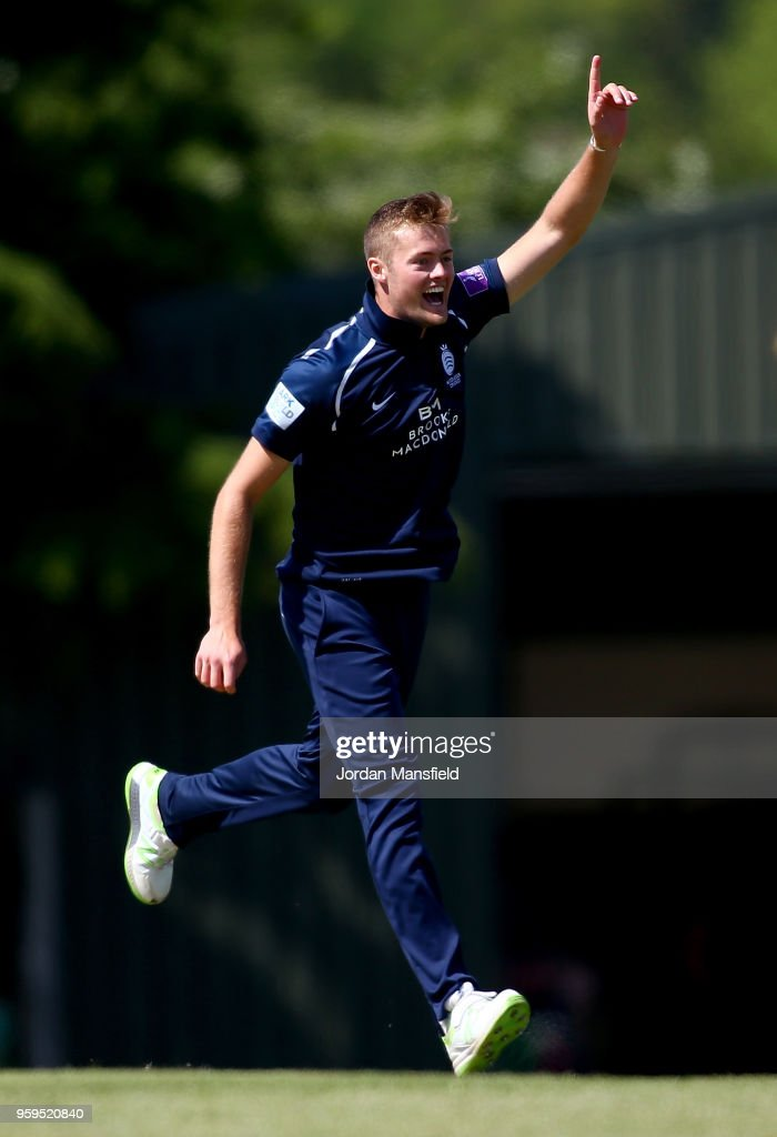 Tom Helm of Middlesex celebrates dismissing Adam Wheater of Essex during the Royal London One-Day Cup match between Middlesex and Essex at Radlett Cricket Club on May 17, 2018 in Radlett, England.