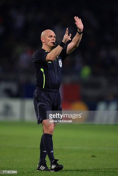 Tom Henning Ovrebo of of Norway in action during the UEFA Champions League, Group E match between Olympique Lyonnais and Glasgow Rangers at the Stade...