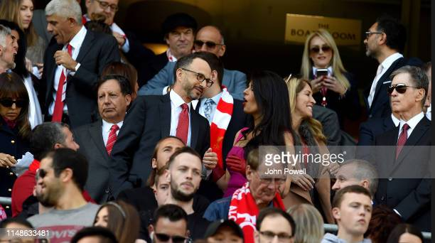 Tom Henry and wife Linda Pizzuti Henry of Liverpool and Michael Gordon and Tom Werner during the Premier League match between Liverpool FC and...