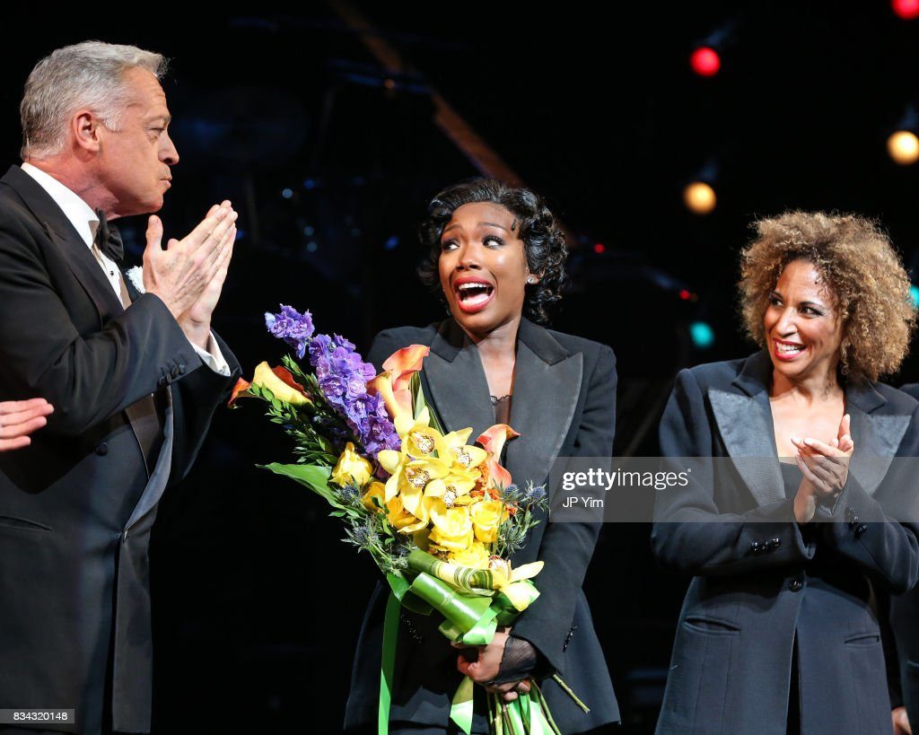 Tom Hewitt, Brandy Norwood and Lana Gordon onstage for the curtain call of 'Chicago' on Broadway at the Ambassador Theatre on August 17, 2017 in New York City.