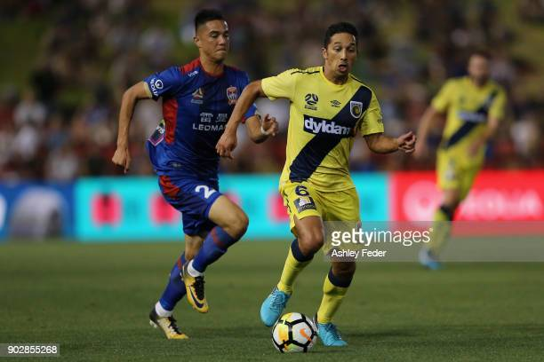 Tom Hiariej of the Mariners contests the ball against Joseph Champness of the Jets during the round 15 ALeague match between the Newcastle Jets and...