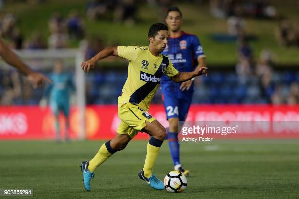 Tom Hiariej of the Mariners in action during the round 15 ALeague match between the Newcastle Jets and the Central Coast Mariners at McDonald Jones...