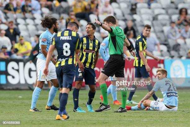 Tom Hiariej of the Mariners questions a decision during the round 16 ALeague match between the Central Coast Mariners and Melbourne City at Central...