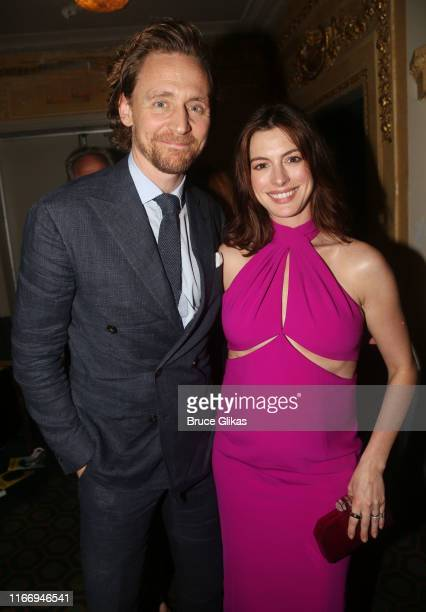 Tom Hiddleston and Anne Hathaway pose at the opening night of Sea Wall/A Life on Broadway at The Hudson Theatre on August 8 2019 in New York City