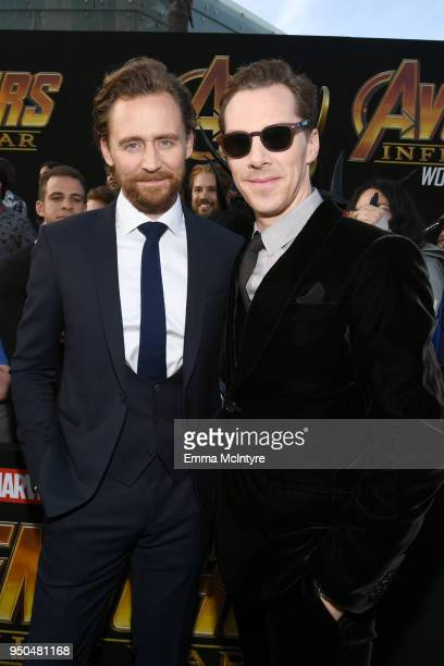 Tom Hiddleston and Benedict Cumberbatch attend the premiere of Disney and Marvel's 'Avengers Infinity War' on April 23 2018 in Los Angeles California