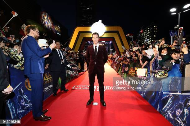 Tom Hiddleston and Benedict Cumberbatch attend the Seoul premiere of 'Avengers Infinity War' on April 12 2018 in Seoul South Korea