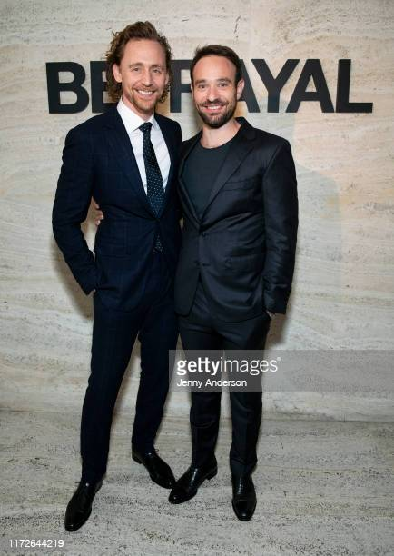 Tom Hiddleston and Charlie Cox attend the Broadway Opening Night of Betrayal at THE POOL in the Seagram Building on September 5 2019 in New York City