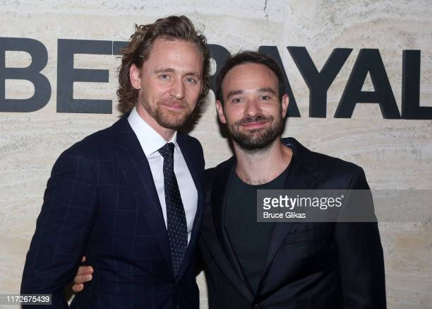 Tom Hiddleston and Charlie Cox pose at The Opening Night of Betrayal on Broadway at THE POOL at the Seagram Building on September 5 2019 in New York...